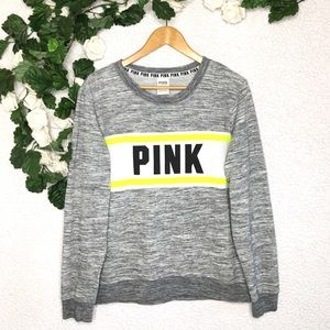 Victoria's Secret PINK Gray Neon Crewneck Sweater